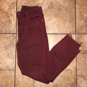 Deep red high rise Abercrombie and fitch cut offs